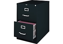 Staples® Vertical File Cabinet, 26-1/2', 2- Drawer, Legal Size, Black