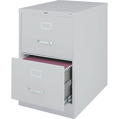 Staples® Vertical File Cabinet, 26-1/2in., 2- Drawer, Legal Size, Light Gray