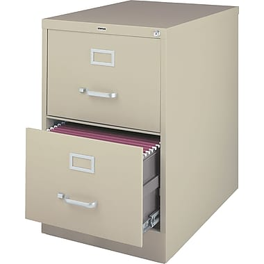 Staples® Vertical File Cabinet, 26-1/2in., 2- Drawer, Legal Size, Putty