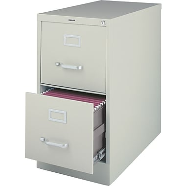Staples® Vertical File Cabinet, 26-1/2in., 2-Drawer, Letter Size, Light Gray