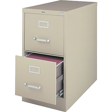 Staples 2-Drawer Letter Size Vertical File Cabinet, Putty (26.5-Inch)