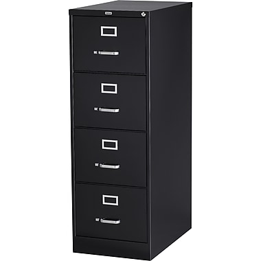 Staples Vertical File Cabinet, 26-1/2in., 4-Drawer, Legal Size, Black