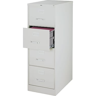 Staples Vertical File Cabinet, 26-1/2in.,  4-Drawer, Legal Size, Light Gray