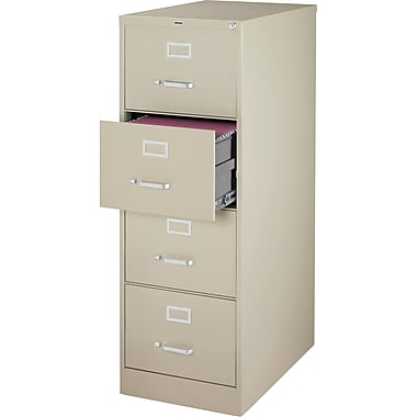 Staples® Vertical File Cabinet, 26-1/2in., 4-Drawer, Legal Size, Putty