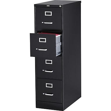 Staples® Vertical File Cabinet, 26-1/2in., 4-Drawer, Letter Size , Black