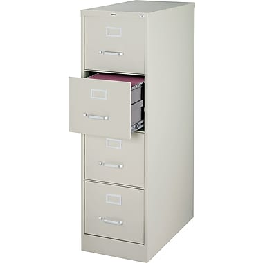Staples® Vertical File Cabinet, 26-1/2in., 4-Drawer, Letter Size, Light Gray