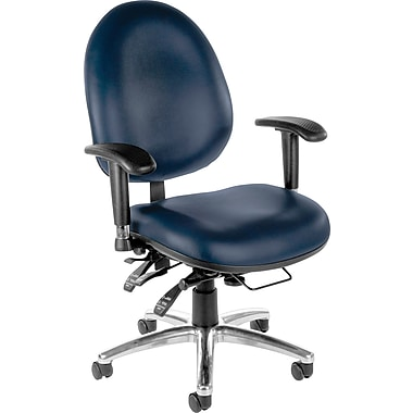OFM Hi-Back 24-HOUR Ergonomic Multi-Shift Anti-Bacterial Vinyl, Big/Tall Task Chair, Navy