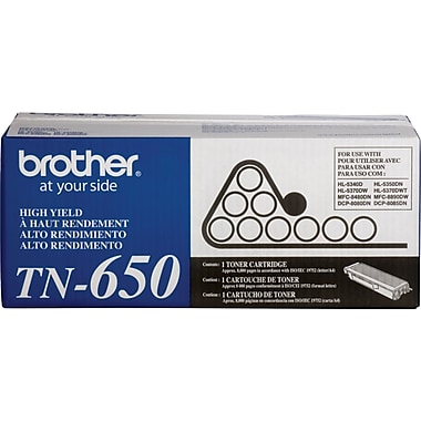 Brother TN650 Black Toner Cartridge, High Yield