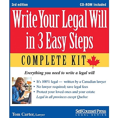 Self-Counsel Press Write Your Legal Will in 3 Easy Steps