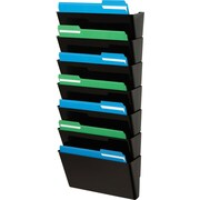 "Staples® Stackable DocuPocket® Wall Files, 7 Pockets, Letter, Black, 7""H x 13""W x 4""D (20487/73704)"