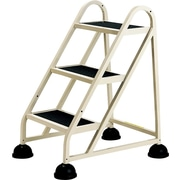 Three-Step Stop-Step Aluminum Ladder, 21 x 26 3/4 x 31 3/4, Beige