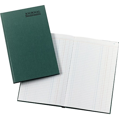 National® Brand Green Canvas Cover Accounting Journal, 12-1/8in. x 7-5/8in., 500/Book