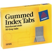 Avery 7/16 x 1-13/16 inch Gummed Index Tabs, 50/pack, Gray/Silver (59105)
