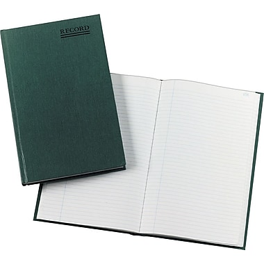National Brand Emerald Series Account Book, 12 1/4in. x 7 1/4in., Record Ruled, Green