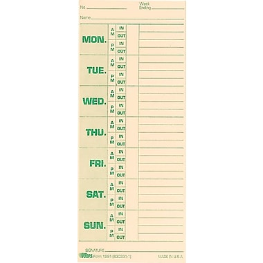 Tops Time Card for Pyramid Model 331-10, Weekly, Two-Sided, 3-1/2 x 8-1/2