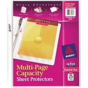 Avery(R) Diamond Clear Multi-Page Capacity Sheet Protectors 74171, Acid Free, Pack of 25