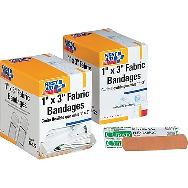 First Aid Only® Fabric Refill Bandages 1in. x 3in.
