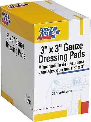 First Aid Only Gauze Dressing Pads 3 x 3 10 Box