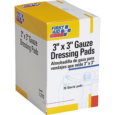 First Aid Only® Gauze Dressing Pads 3in. x 3in., 10/Box