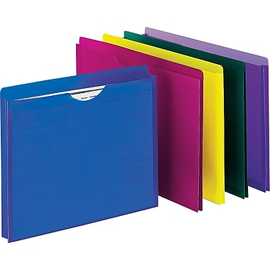 Staples® Poly File Jacket, Letter, Assorted, 10/Pack