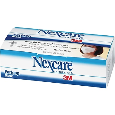 Nexcare®  Fluid-Resistant Earloop Mask, 20/Box
