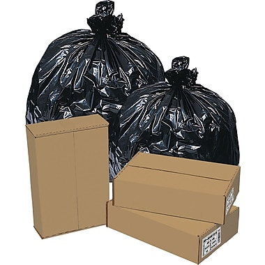 Brighton Professional High Density Super Heavy Strength Trash Bags, Black, 45 Gallon, 150 Bags/Box