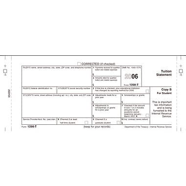 TOPS 1098T Tax Form, 1 Part, Student - Copy B, White, 8 1/2in. x 11in., 50 Sheets/Pack
