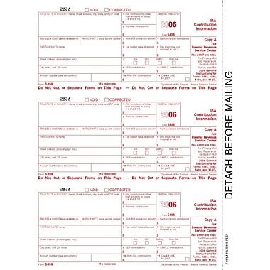 TOPS® 5498 Tax Form, 1 Part, Participant - Copy B, White, 8 1/2