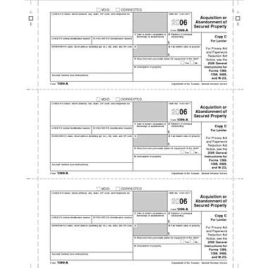 TOPS 1099A Tax Form, 1 Part, Lender/State - Copy C, White, 8 1/2in. x 11in., 50 Sheets/Pack