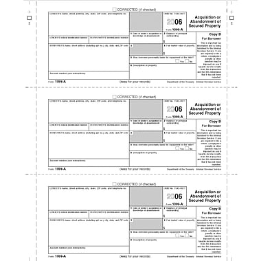TOPS® 1099A Tax Form, 1 Part, Federal - Copy A, White, 8 1/2