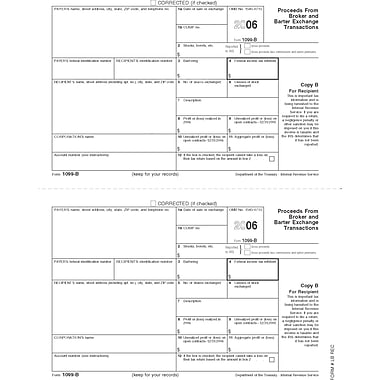 TOPS 1099B Tax Form, 1 Part, Recipient - Copy B, White, 8 1/2in. x 11in., 50 Sheets/Pack