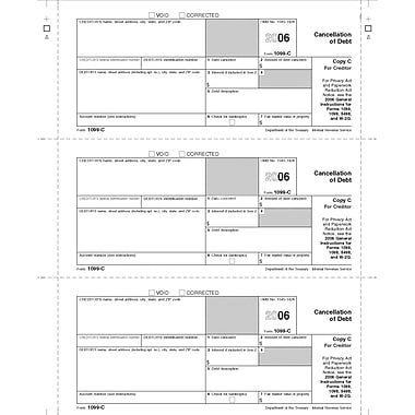 TOPS 1099C Tax Form, 1 Part, Creditor/State - Copy C, White, 8 1/2in. x 11in., 50 Sheets/Pack