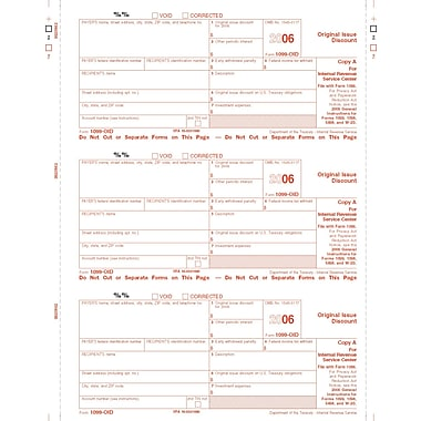 TOPS 1099OID Tax Form, 1 Part, Federal - Copy A, White, 8 1/2in. x 11in., 50 Sheets/Pack