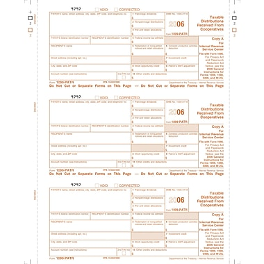 TOPS 1099PATR Tax Form, 1 Part, Federal - Copy A, White, 8 1/2in. x 11in., 50 Sheets/Pack