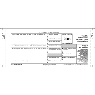 TOPS 1099PATR Tax Form, 1 Part, Payer/State - Copy C, White, 8 1/2in. x 11in., 50 Sheets/Pack