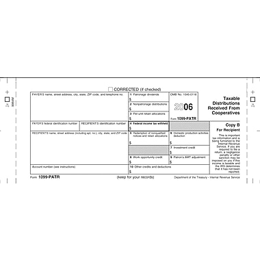 TOPS 1099PATR Tax Form, 1 Part, Recipient - Copy B, White, 8 1/2in. x 11in., 50 Sheets/Pack