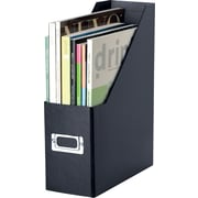 "Snap-N-Store™ Magazine File, 1-Compartment, Black, 14""H x 3 1/2""W x 9 1/4""D"