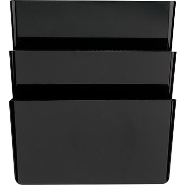 Staples® Black Plastic Desk Collection, (Recycled) Letter-Size Wall File, 3/Pack