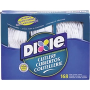 Dixie Cutlery Keeper, Assorted Forks, Knives & Spoons, Plastic, White, 168/Pack (CM168)