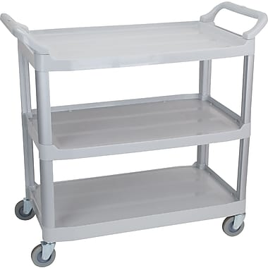 Staples 3-Shelf Plastic Utility Cart with Wheels, Grey