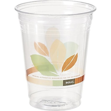 SOLO Bare Eco-Forward Recycled Content (RPET) Clear Plastic Cold Cups, 12 oz., 50/Pack