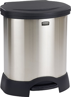 """""Rubbermaid Step-On Waste Containers, Stainless Steel, 23 Gallon, Black, 27 1/2""""""""H x 22 1/4""""""""W x 20 1/2""""""""D"""""" 818839"