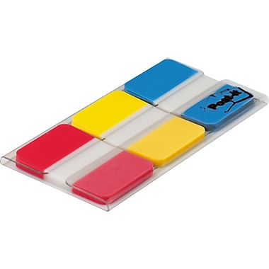 Post-it 1in. Tabs, Solid Red, Yellow, Blue, 66 Tabs/On-the-Go Dispenser (686-RYB)