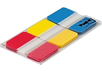 Post-it® 1' Tabs, Solid Red, Yellow, Blue, 66 Tabs/On-the-Go Dispenser (686-RYB)