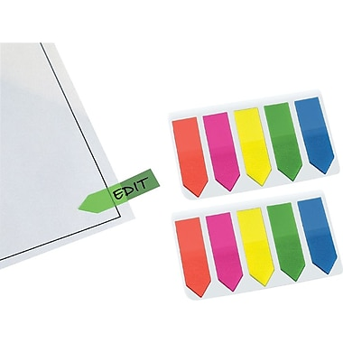 Redi-Tag® 1in. Arrow Flags with Clip-On Holder, Assorted Neon Colors, 50 Flags/Pack