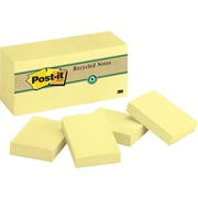 "Post-it&reg 1 1/2"" x 2"" Recycled Canary Yellow Notes, 12 Pads/Pack"