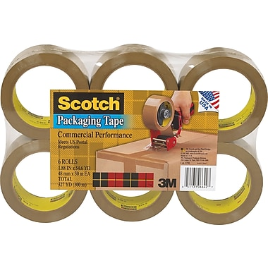 Scotch® Commercial Performance Packaging Tape, Tan, 1.88in. x 54.6 yds, 6 Rolls