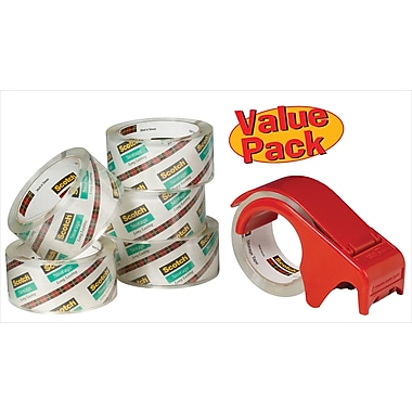 Scotch® Moving and Storage Packaging Tape Dispenser with 6 Rolls, Clear, 1.88in. x 54.6 Yards