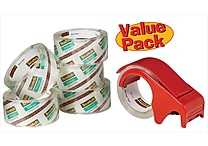 Scotch® Moving and Storage Packaging Tape Dispenser with 6 Rolls, Clear, 1.88' x 54.6 Yards