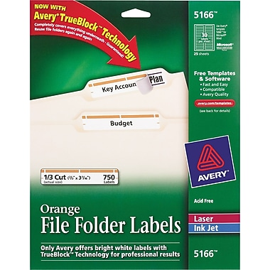 Avery® 5166 Orange Permanent File Folder Labels with TrueBlock, 750/Pack